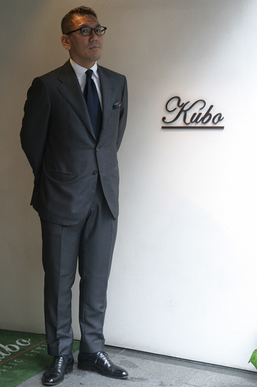 Mr. Kubo shown here wearing a suit made with Miyuki fabric (Japan)