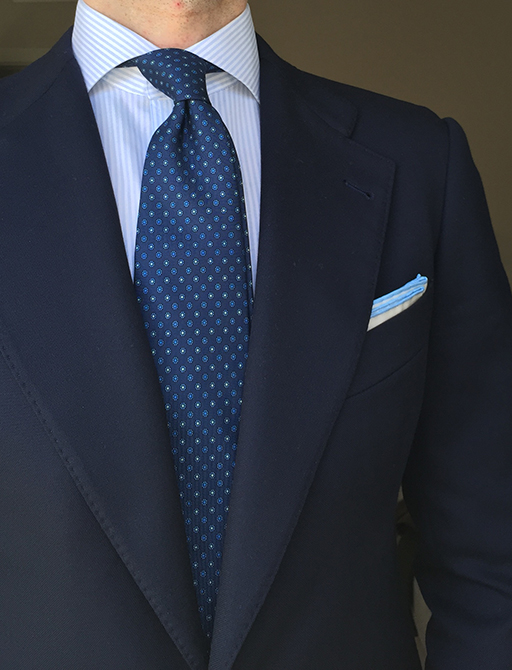 Navy blue and blue dotted tie