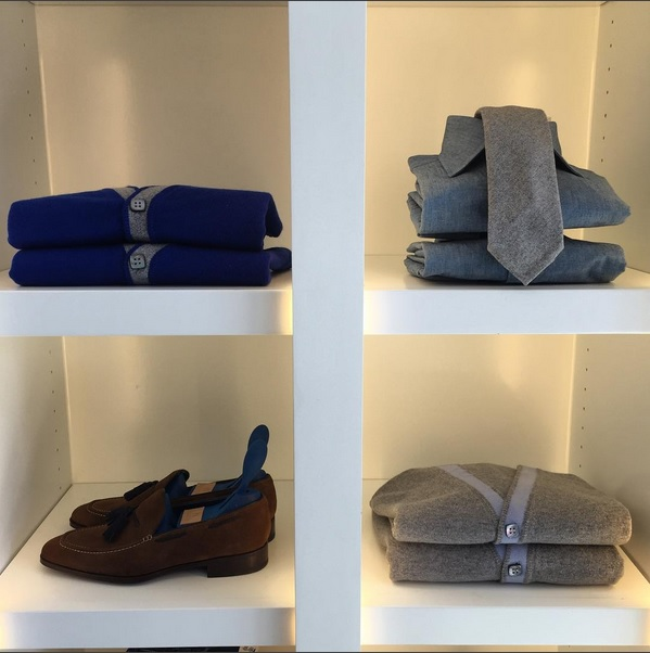 Simple use of colors on Hadleigh's selection of cardigans, ties and shoes