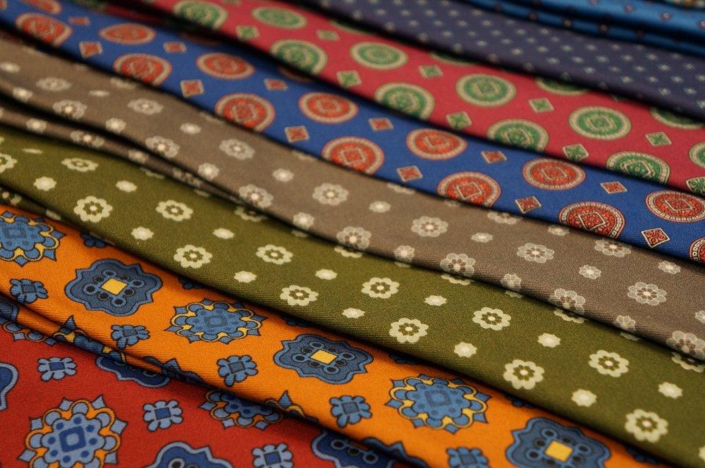 Andrew's Ties Sweden paisley ties on display.