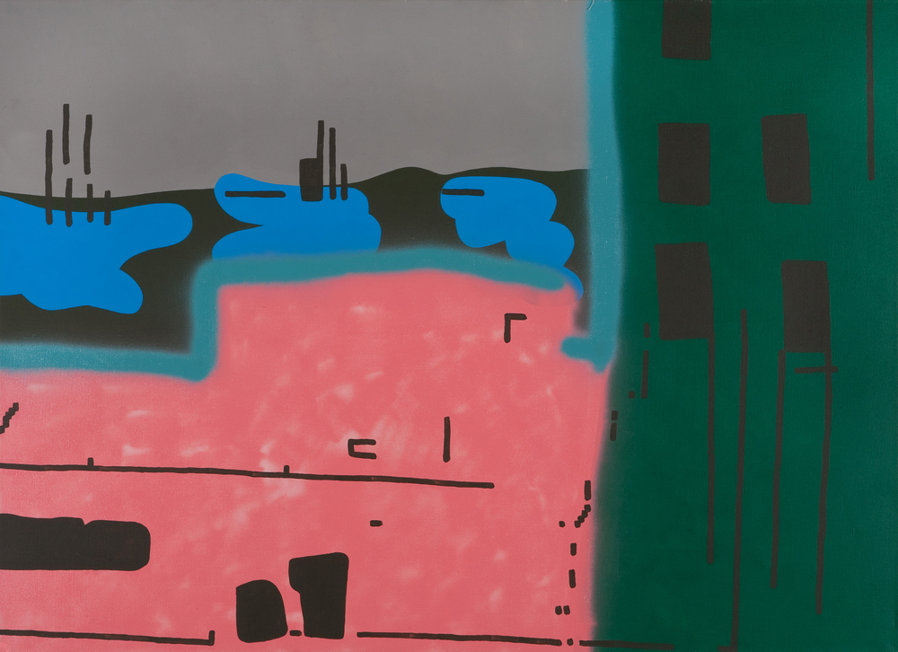 Architecture XI. 2006, acrylic, spray on canvas, 110 x 150 cm
