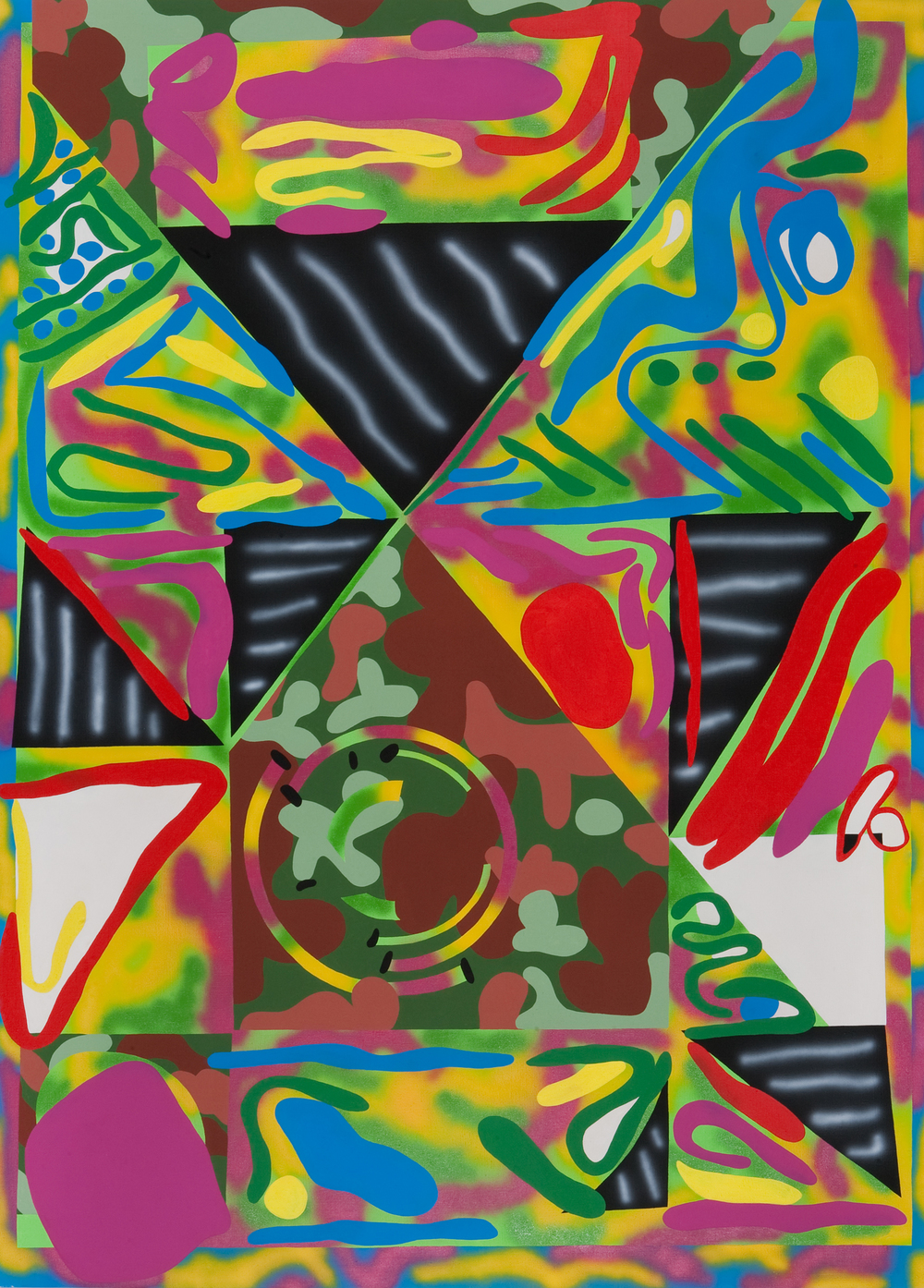 Friends of lunapark, 2009, acrylic, spray on canvas, 250 x 180 cm