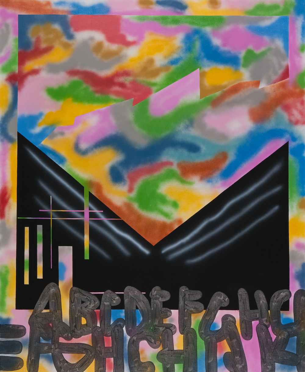 Ufo Club, 2009, acrylic, spray on canvas, 220 x 190 cm