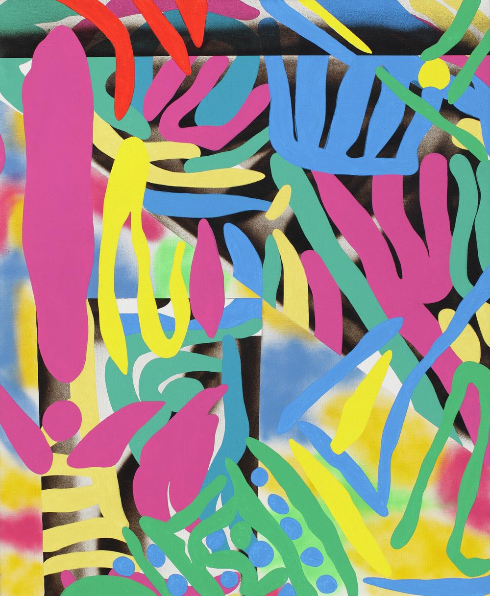 Xikin, 2009, acrylic, spray on canvas, 140 x 115 cm