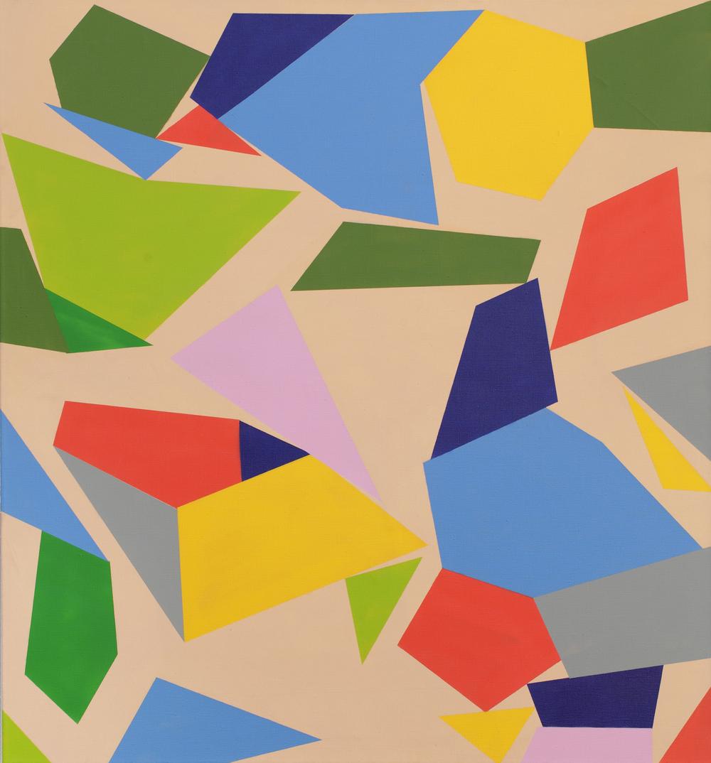 Automatic Geometry, 2010, acrylic, spray on canvas, 140 x 130 cm