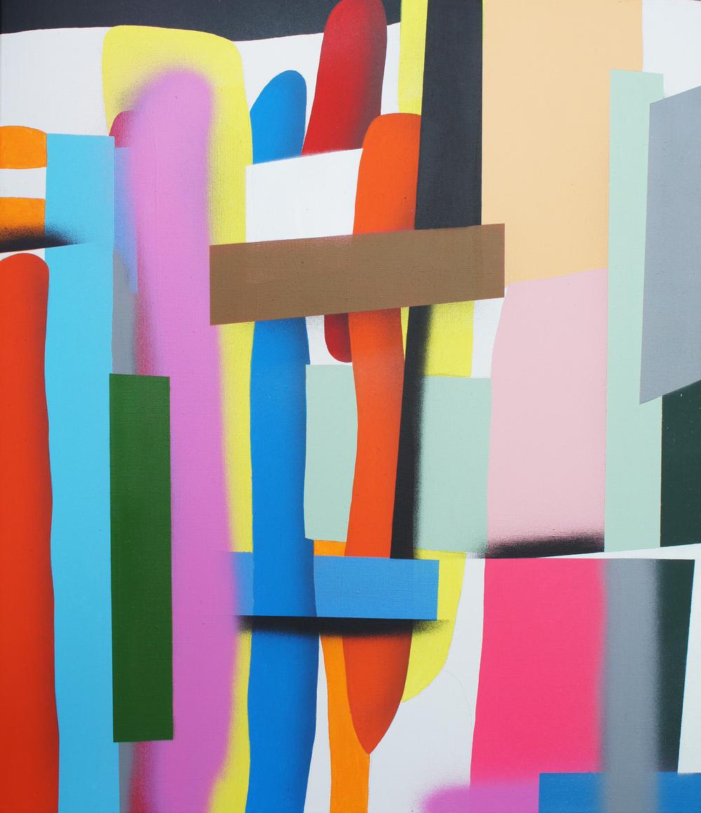 Neomondrians, Zoom No.2, 2012, acrylic, spray on canvas, 75 x 65 cm