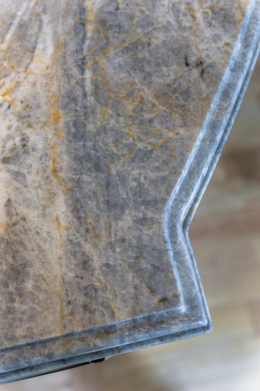 Blue Pearl Stone Tempesta Satin Quarzite Island Laminated Classic Ogee Edge 02