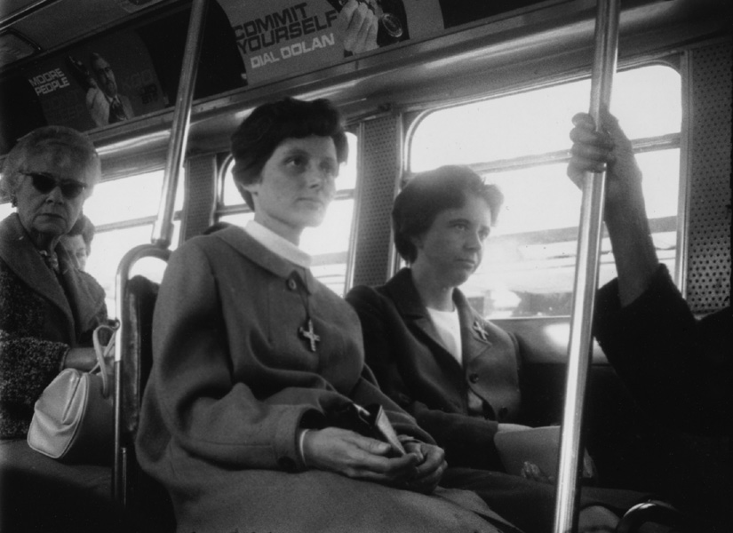 Maury Edelstein<br> Untitled (SF Muni), 1965<br> Silver gelatin print from Minox negative, 5 x 7 in. Unique.