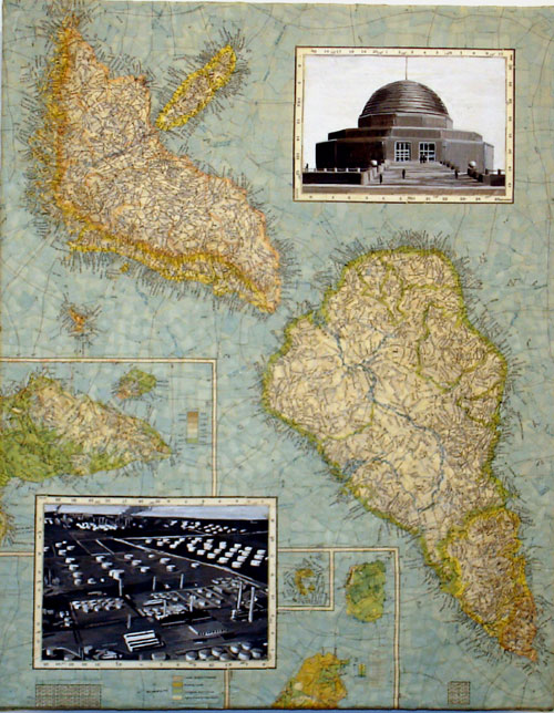 """Myopia"" (2007)<br> Torn map collage and acrylic on canvas, 20 x 15 inches"