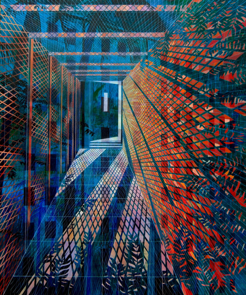 """Isla Vista Hallway "" (2014)<br>Oil on canvas, 72 x 60 inches."