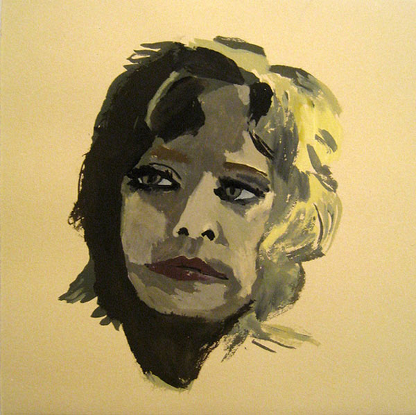 """Farrah"" (2009)<br>Gouache on paper, 8 x 8 inches."