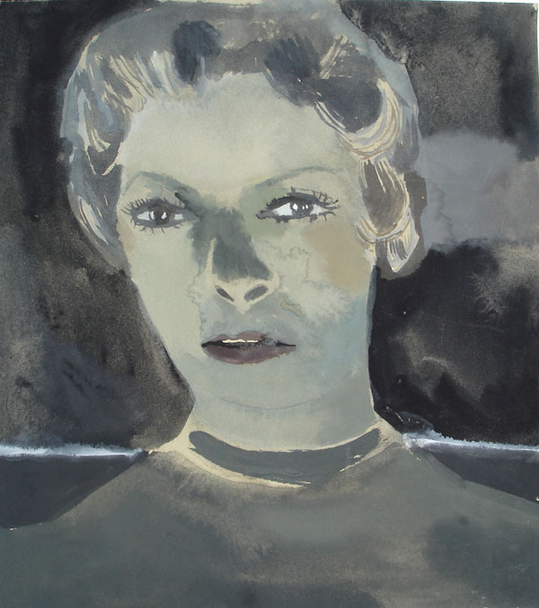 """Janet"" (2009)<br>Gouache on paper, 11 x 10 inches."