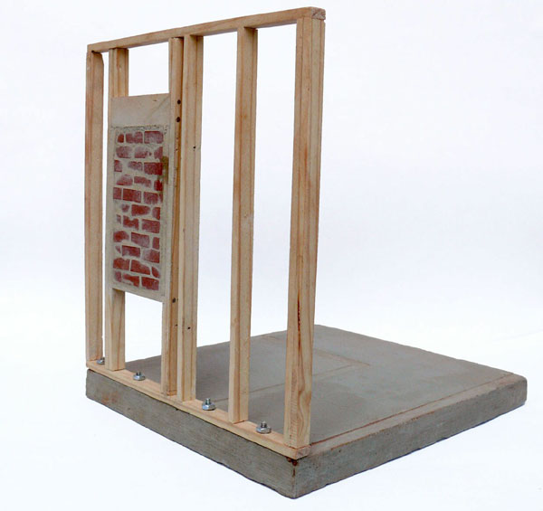 """No View"" (2008)<br> Cement, wood, pigment, <br> 8 x 7 x 7 inches."