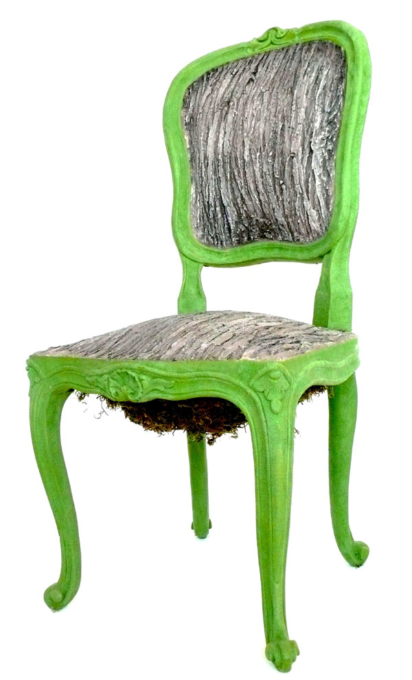 """Tree Chair"" (2008)<br>Cement, wood, moss, flocking, adhesive<br>38 x 17 x 18 in."