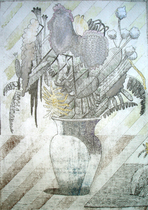"""Flowers for Lydia"" (2011)<br>Graphite, watercolor, gesso on paper, 12 x 8 1/4 in."