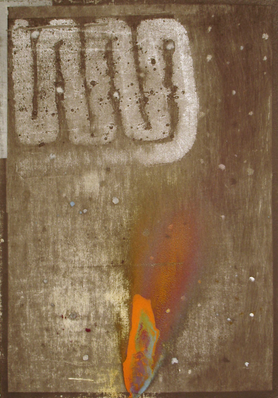 """Outer Space Series IV"" (2011)<br>Graphite, spray paint, oil pastel, gesso on paper 12 x 8 1/4 in."