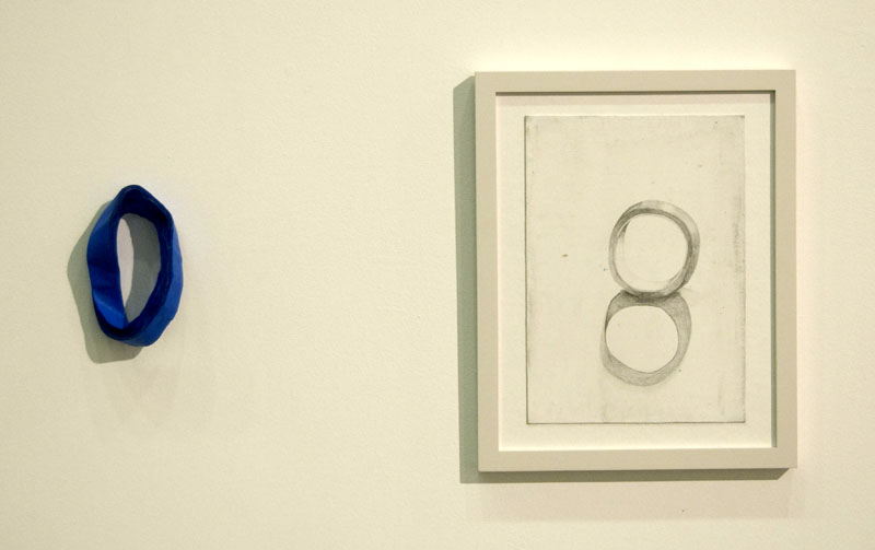 """Two Continuous Rolls of Blue Tape"" (2010)<br>Graphite, gesso on paper and blue tape 6 x 4 x 2 in. / 12 x 8 1/4 in."