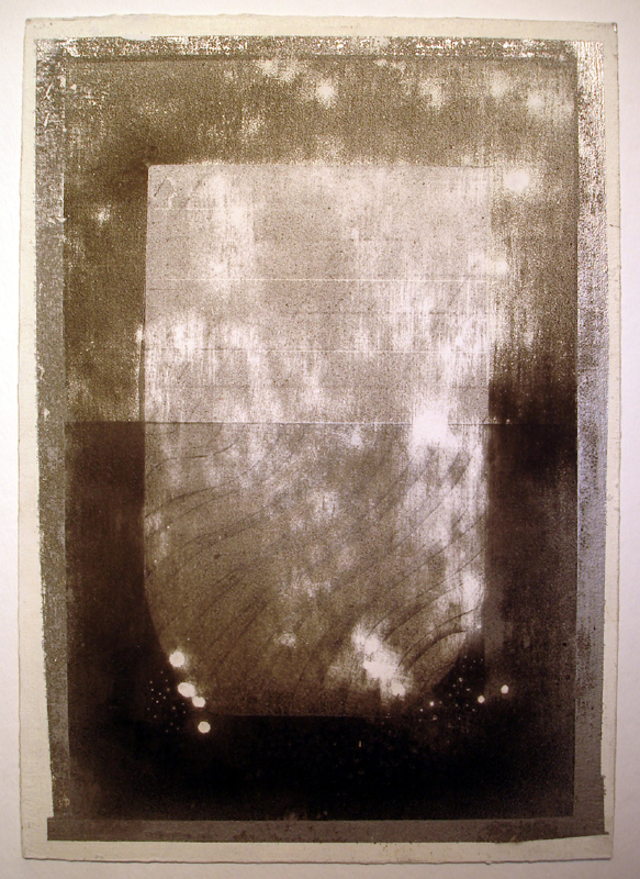 """This Glass of Water is Half Finished V"" (2011)<br>Graphite, spray paint, gesso on paper 12 x 8 1/4 in."