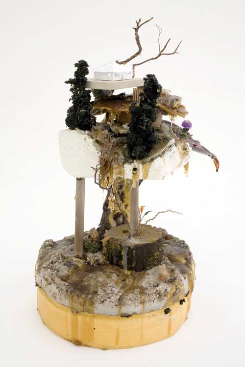 """Rebuild Regardless"" (2011)<br>Various media, 15 x 9 x 9 inches."