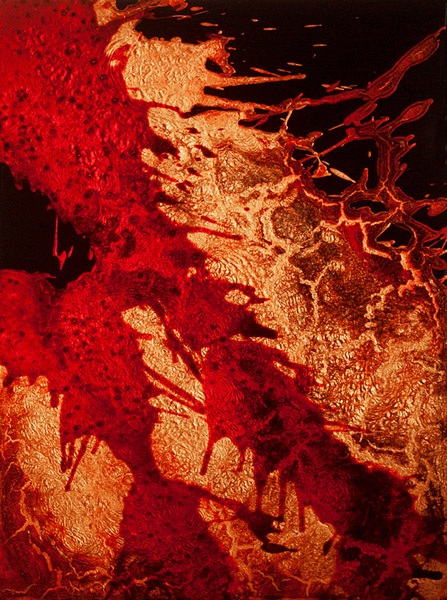 """FKTS16"" (2012)<br>Blood, copper preserved on plexiglass, UV resin.<br>24 x 18 x 2 inches"