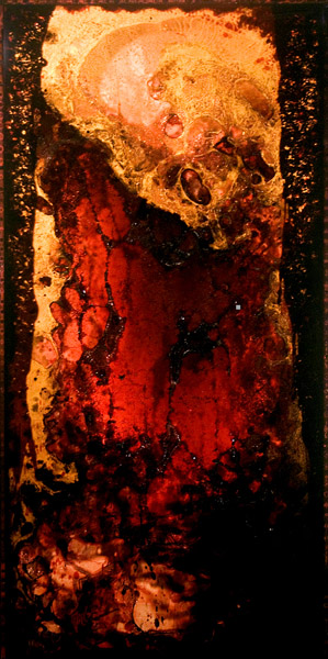 """BARC 2"" (2011)<br>Blood, copper preserved on plexiglass, UV resin.<br>40 x 20 x 3 inches"