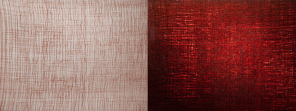"""ROZE 5-6"" (2012)<br>Blood, copper, gauze preserved on plexiglass, UV resin.<br>18 x 48 x 3 inches (diptych)."