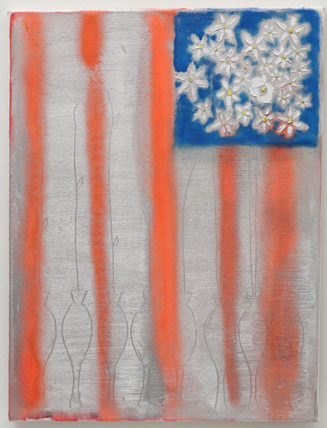 """New Flag "" <br>Oil, spraypaint, graphite on canvas (2014)<br>24 x 18 inches"