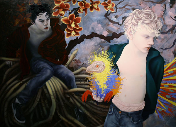 """To Live and Die in L.A."" (2008)<br>Oil on canvas, 66 x 90 inches."