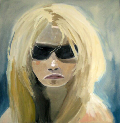 """Brigitte - Glasses"" (2007)<br>Gouache on paper, 14 x 14 inches."