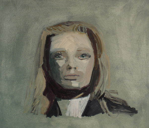 """Tippi"" (2007)<br>Oil on canvas, 16 x 16 inches."