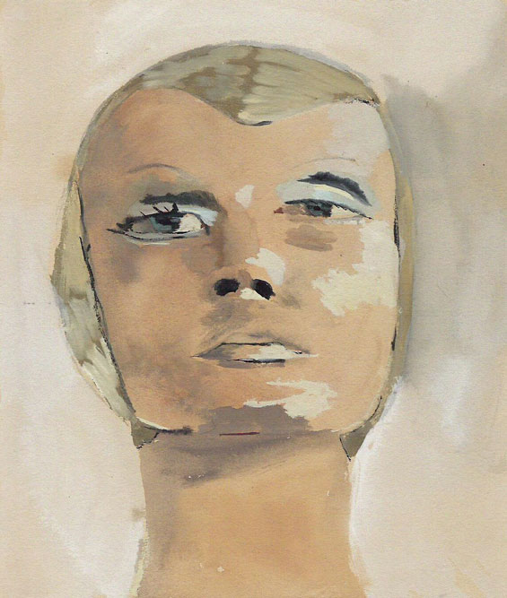 """Twiggy"" (2007)<br>Oil on canvas, 16 x 12 inches."