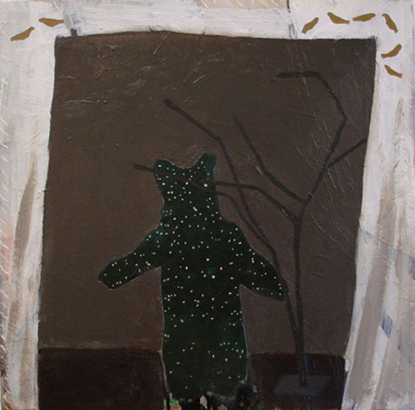 """Dreaming Bear"" (2009)<br>Oil on canvas, 18 x 18 inches."