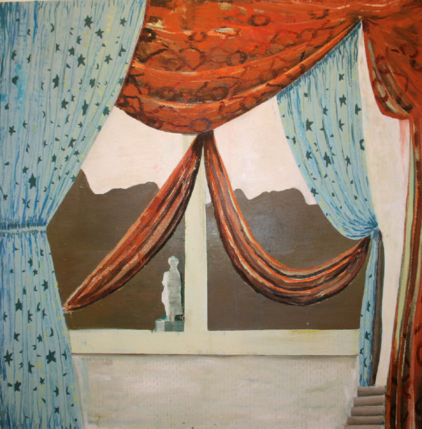 "Curtains For You"" (2009)<br>Oil on canvas, 36 x 36 inches."