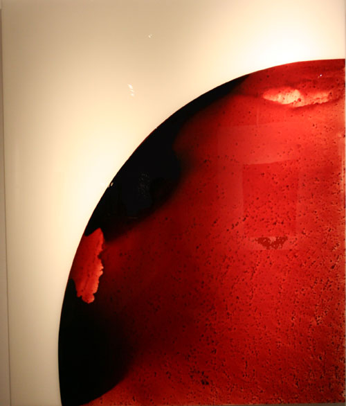 """Phase 8""<br>Blood, resin, preserved on plexiglass<br>72 x 60 x 3 inches"