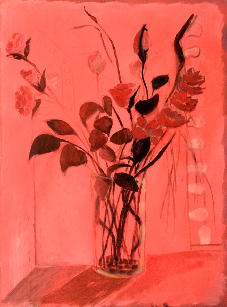 """Flowers at Les Nuits de Paris Massage""<br>Oil on canvas (2012)<br>24 x 18 inches"