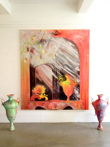 """Rock 'n' Roll Rococo""<br>Oil, spray paint on canvas (2012)<br>84 x 79 inches"