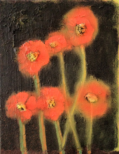 """Poppies""<br>Oil on canvas (2012)<br>14 x 11 inches"
