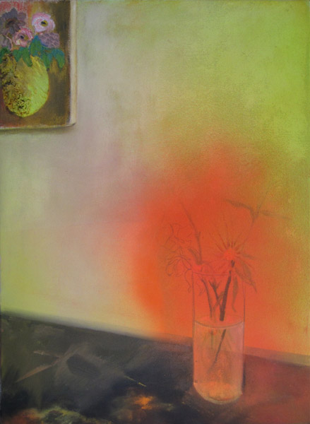 """Dead Flowers""<br>Oil, spray paint on canvas (2012)<br>24 x 18 inches"