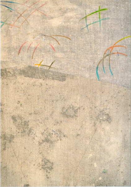 Bryson Gill  Untitled (Textile 3), (2012) Oil, bleach on sewn linen, 50 x 35 inches