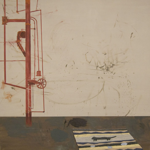 Jacob Tillman  Studio Painting with Sculptural Element (Water) Oil on canvas, 60 x 60 inches (2010)