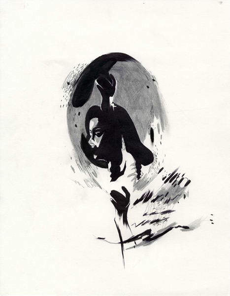 "Shawn Kuruneru  ""Dancing Woman Study 1"" (2008) Graphite, ink on paper, 14 x 11 in."