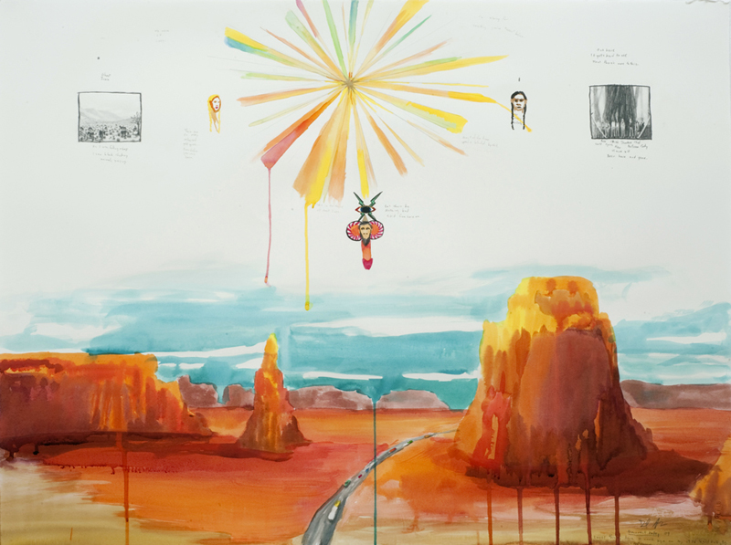 "Dan Attoe  ""Monument Valley"" (2009) Watercolor, graphite on Arches paper. 22 1/4 x 30 in."