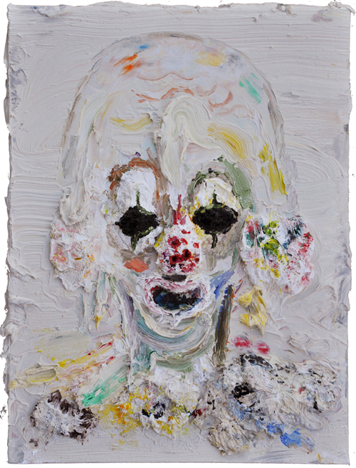 "Allison Schulnik  ""Small Green-Eyed Clown Head"" (2010) Oil on canvas, 16 x 12 in."