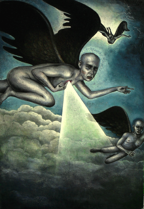 """From the Ashes of Angels"" (2009) Acrylic on wood, 22 x 15 in."