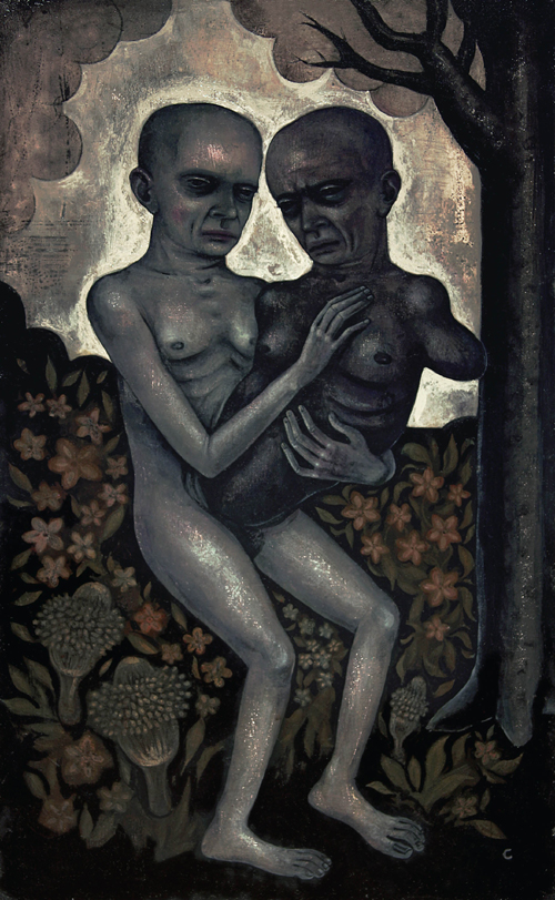"""My Malignant Twin"" (2009) Acrylic on wood, 23 x 14 in."