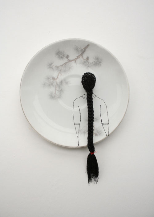 "Diem Chau  ""Pines"" (2008) Porcelain, silk, thread, 6 x 6 in.  Enlarge Image"