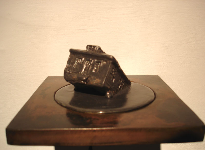 "Danielle Giudici-Wallis ""Lead House"" (2008) Steel, lead, patina, lacquer, 7 x 5.5 x 5.5 in."