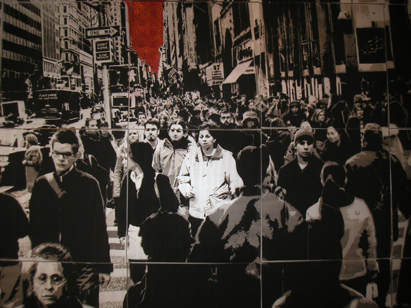 "Logan Hicks ""NY 5th Avenue"" (2004) Hand-cut stencil, spraypaint on wood. 120 x 144 in."