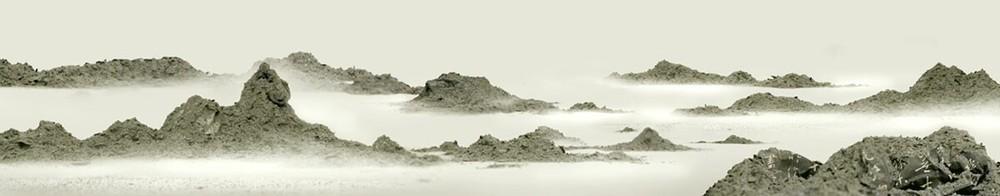 """Wang Tiande  """"Gu Shan 3"""" (diptych - left) (2007) Digital image, xuan paper, pi paper, stone rubbing. 12.5 x 64 in."""