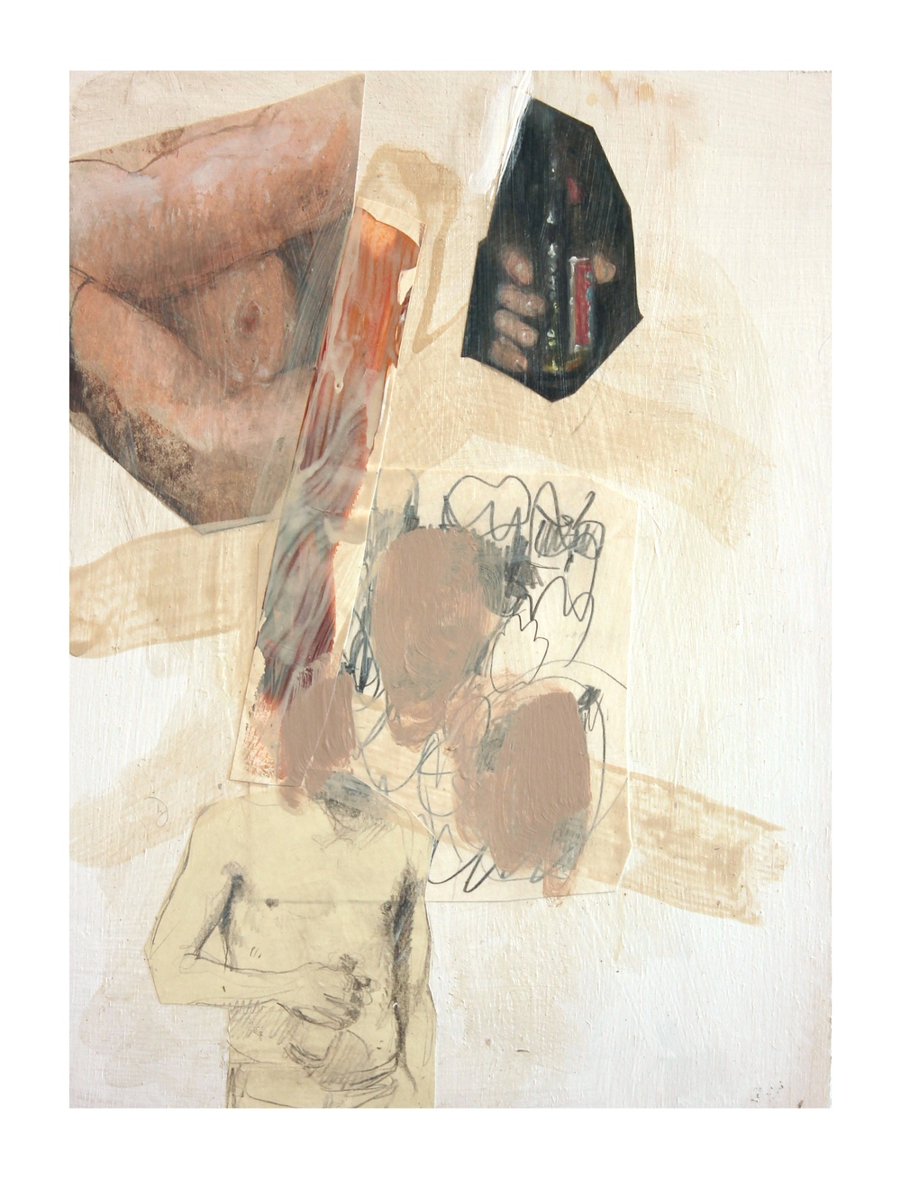 """Bottle"" (2015)<br>Colored Pencil, Acrylic, and Paper on Panel, 12 x 9 in."